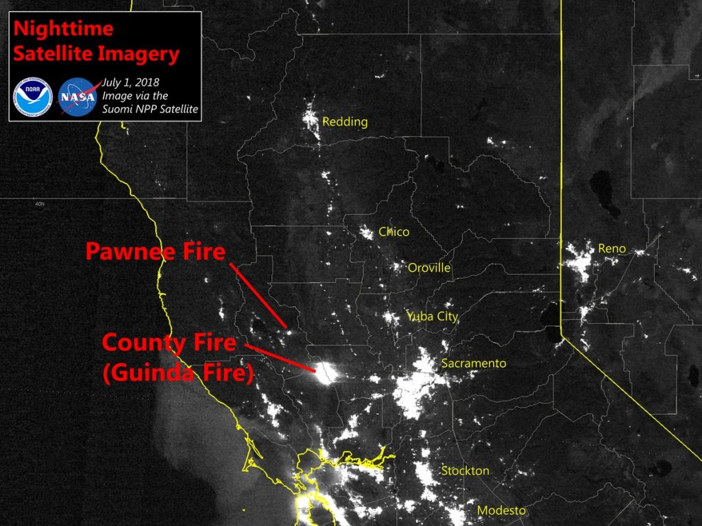 Satellite Imagery captured by the National Weather Service in Sacramento shows the bright lights from the Pawnee and County Fires