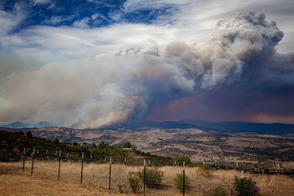 The Klamathon Fire as seen from the southwest on Black Mountain.