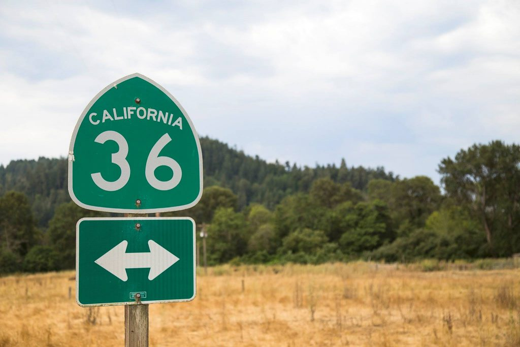 State Route 36 sign.