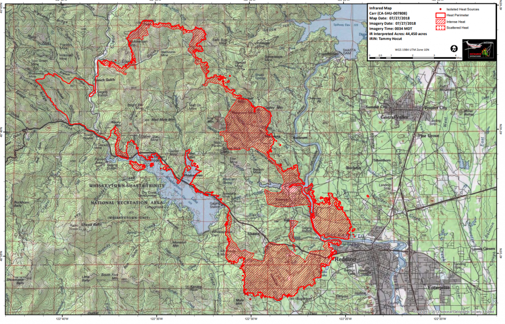 Heat map of the Carr Fire