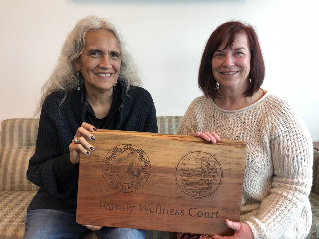 (Yurok Tribal Court Judge Abby Abinanti (left) and Humboldt County Superior Court Judge Joyce Hinrichs collaborated on the creation of the new Family Wellness Court.