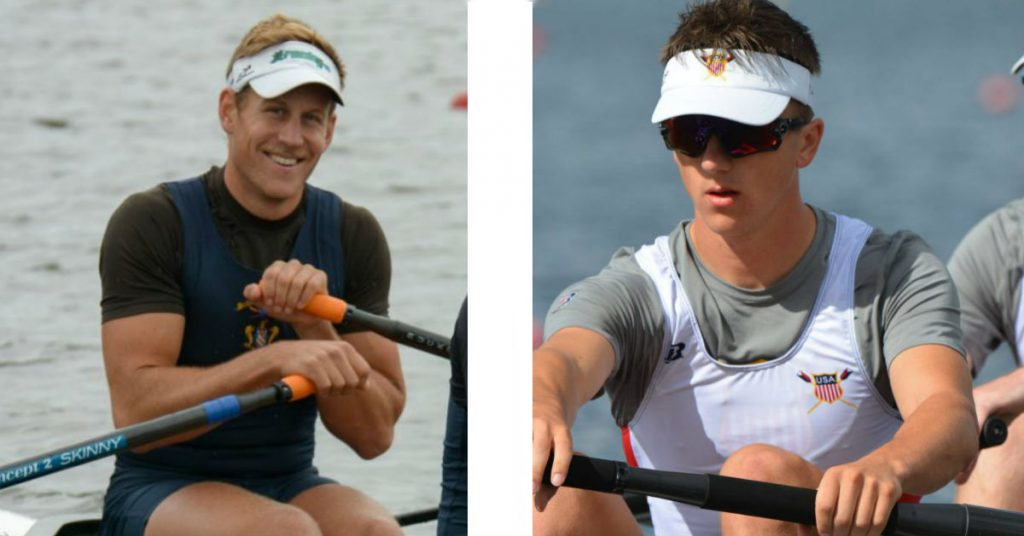 Luke Wilhelm (left) and Ezra Carlson (right) rowing