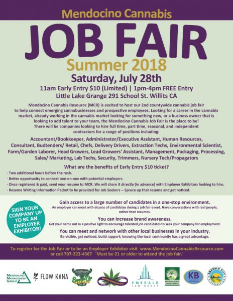 Mendocino Cannabis Job Fair poster