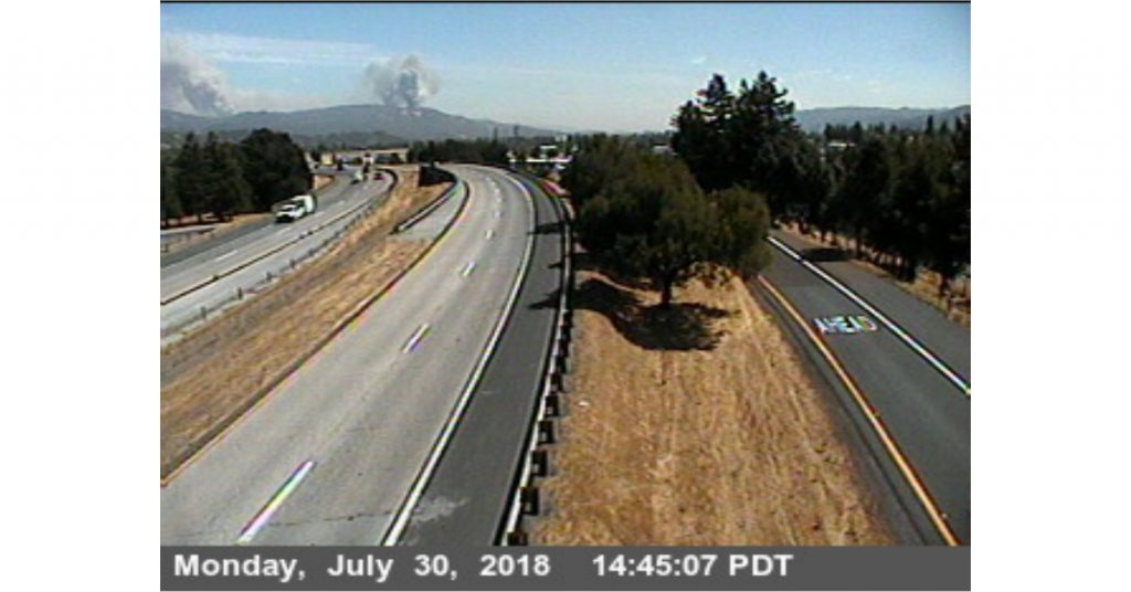 Smoke from the Mendocino Complex on a Caltrans Traffic cam.