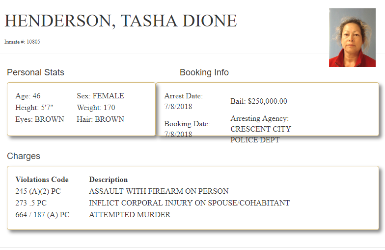 Booking information from Tasha Dione Henderson from the Del Norte County Sheriff's Online Information System.