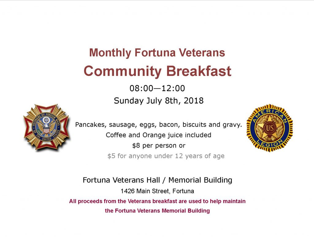 Fortuna Veterans community breakfast