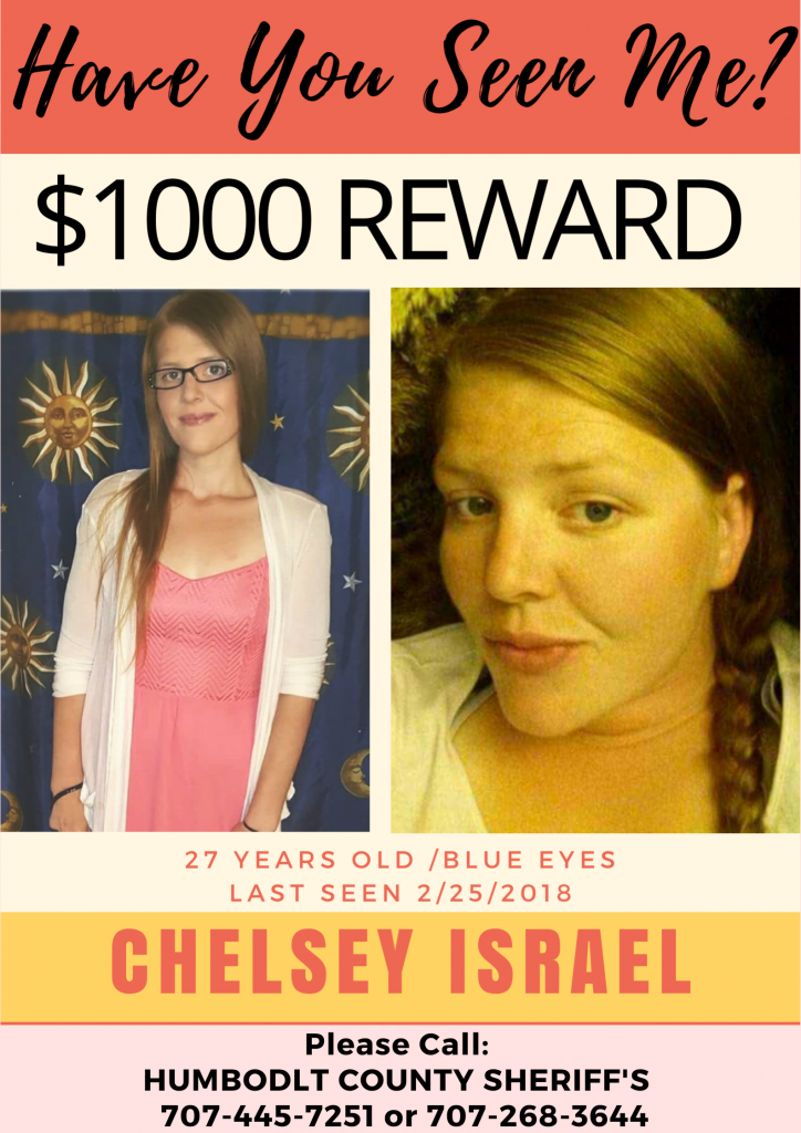 Chelsey Israel Missing person reward poster