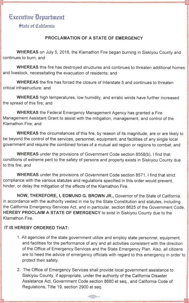 emergency proclamation for Siskiyou County due to the effects of the Klamathon Fire