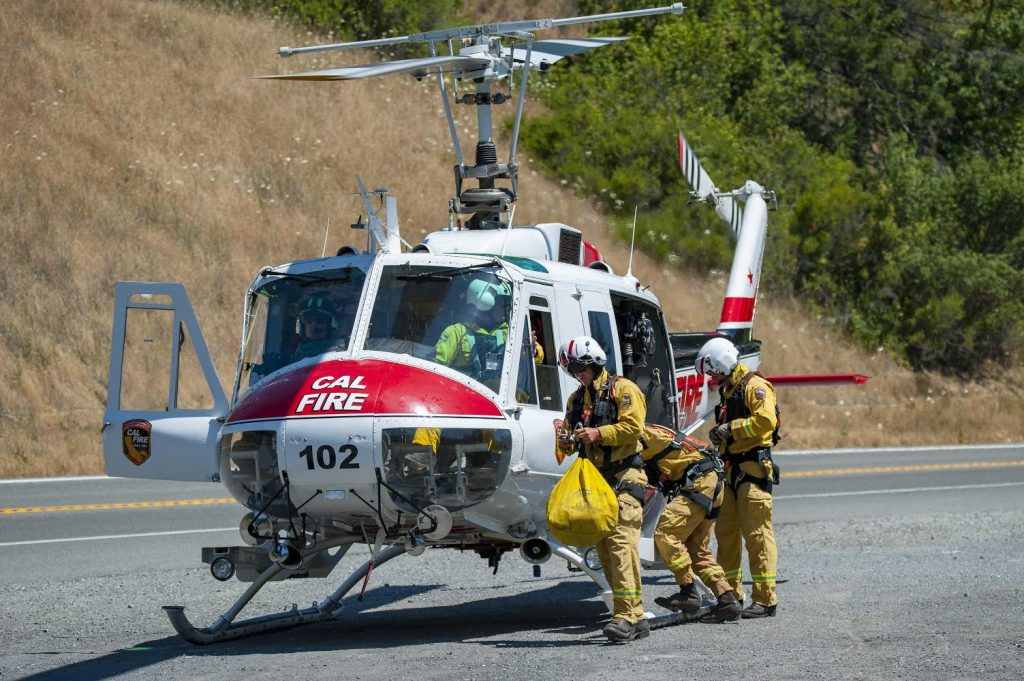 Cal FIre Chopper 102 crew taking a patient to the hospital.
