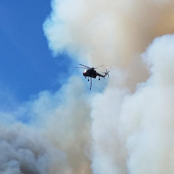 Helicopter in Smoke from Carr Fire