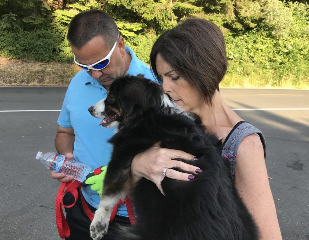 With dog Alan and Shelly Mendes pray while holding their dog Kobe. Alan is a Sheriff's deputy and Sherrie is a paramedic. Their son Tanner was on the fire engine that responded to the scene. Faith is important to them and prayed for the families and for the community at large.
