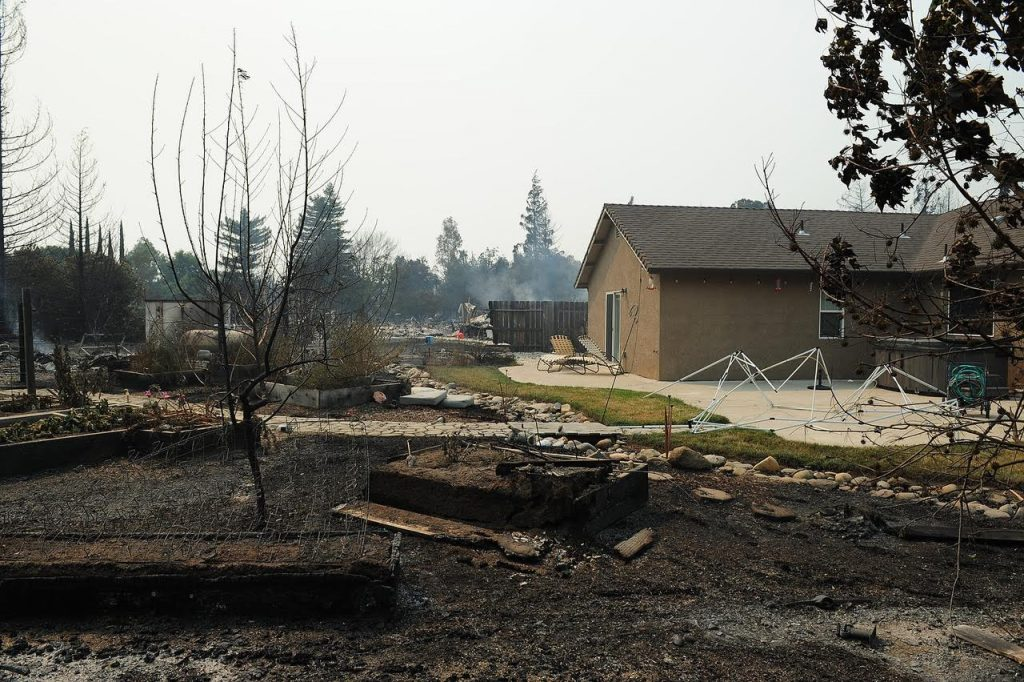 A house in the Lake Redding Estates survived the blaze, but it's yard didn't fare as well.