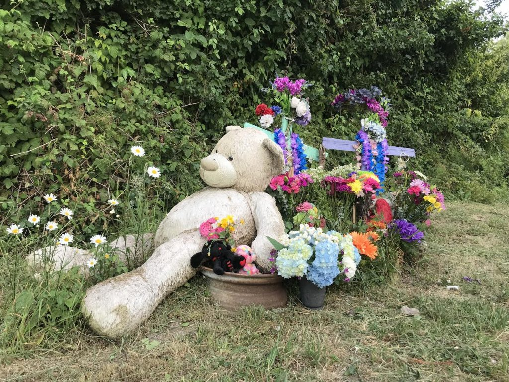 At the scene of the collision, stuffed animals lean against flowers in a roadside memorial.