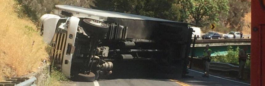 Box truck on its side north of Leggett
