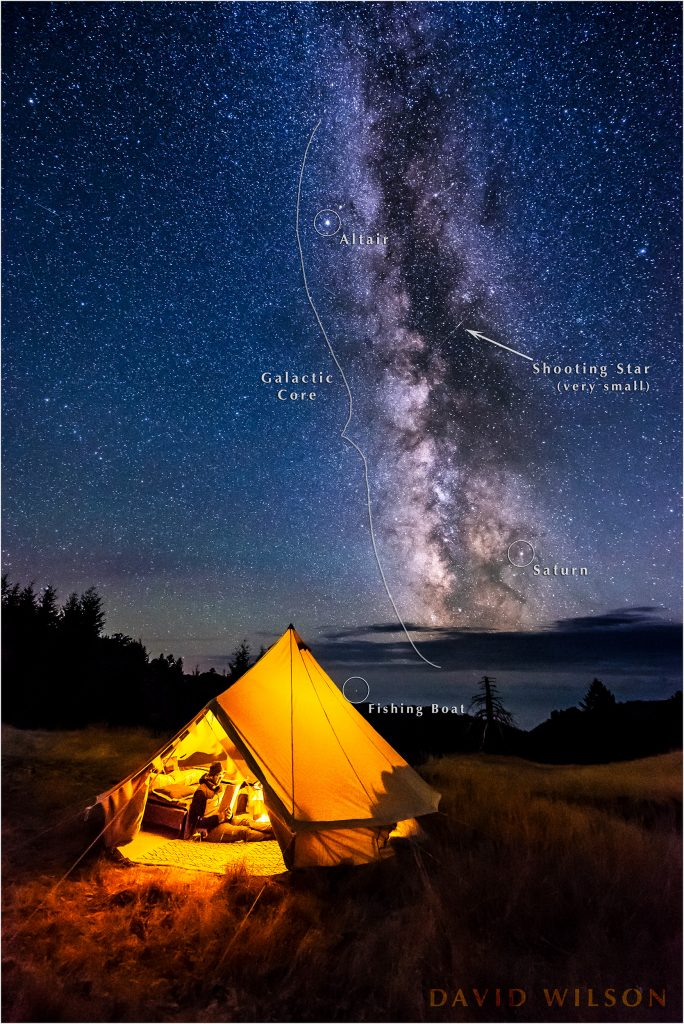 Camping beneath the Milky Way on Paradise Ridge, Lost Coast, Humboldt County, California.