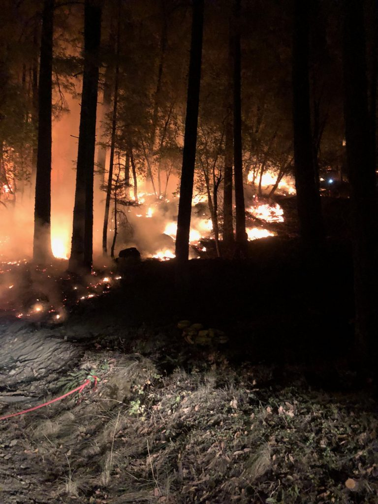 A firing operation was conducted near Pine Mountain the night of 8-16-18 to remove fuel ahead of the main fire and strengthen firelines.