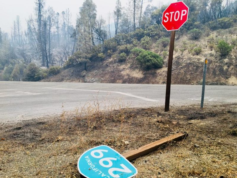 The Carr Fire swept over Hwy 299 leaving damage behind.