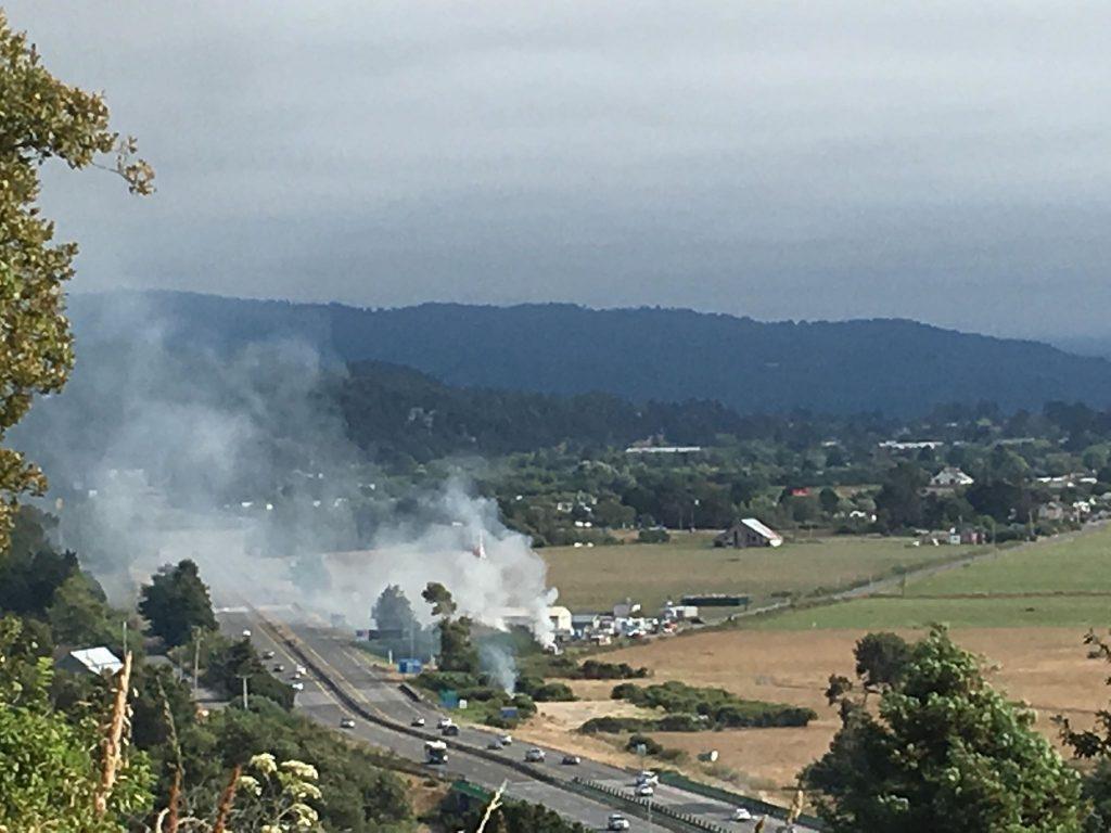 A van on fire spread into vegetation.
