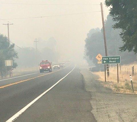 Smoke chokes Hwy 20.