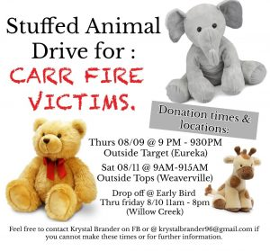Stuffed toy drive for victims of Carr Fire