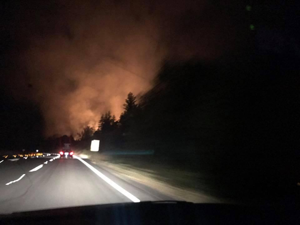 Fire burning near 101