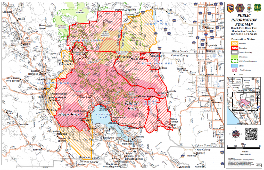 Evacuation Map as of August 5 at 9:13 a.m.