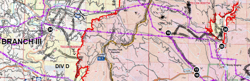 Enlarged section of today's operation map near Lewiston.