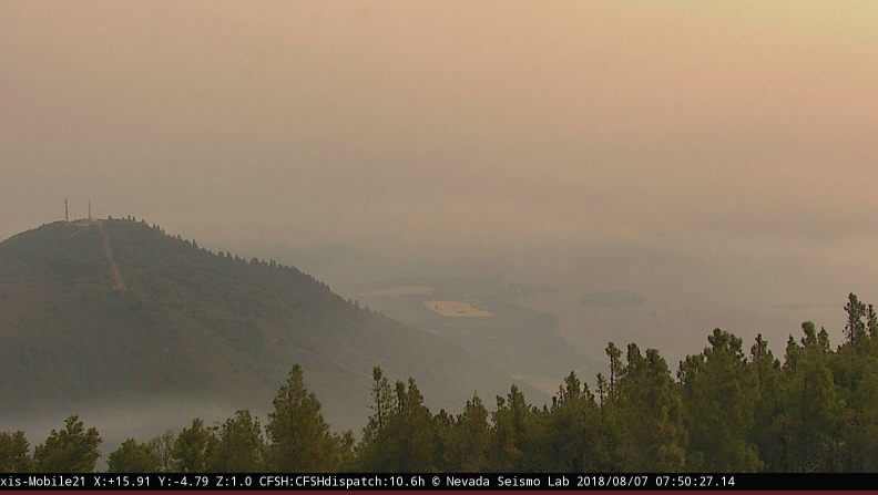 The Mount Konocti Camera shows smoke laying in over Clear Lake.