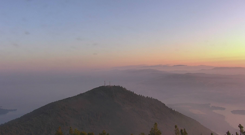 Mount Konocti cam shows smoke hanging over Clear Lake this morning.