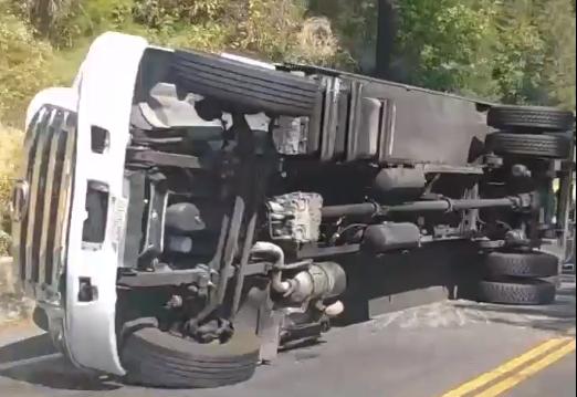 Overturned truck.