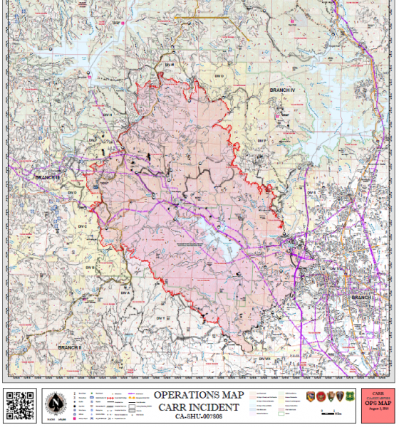 Carr Fire Operations Map