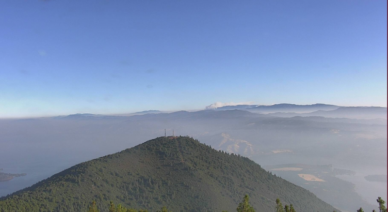 Mount Konocti cam shows smoke hanging over Clear Lake this morning.   [Image from here]