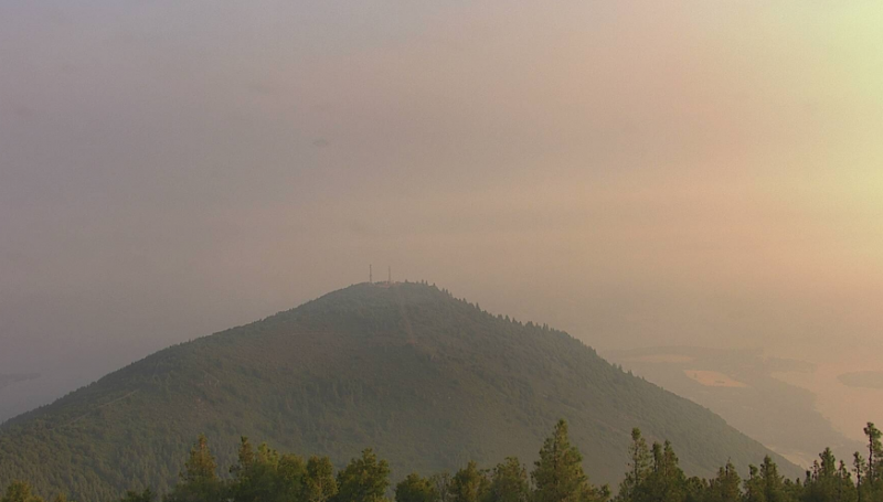 The smoke is lighter this morning over Clear Lake. [Image from here]