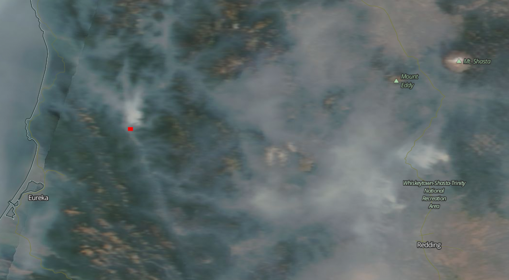 Smoke from the Mill Creek Fire is underlined in red on this satelite map.