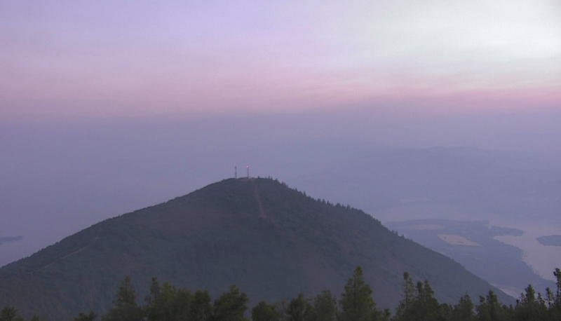 The smoke is lighter this morning over Clear Lake. [Image fromhere]
