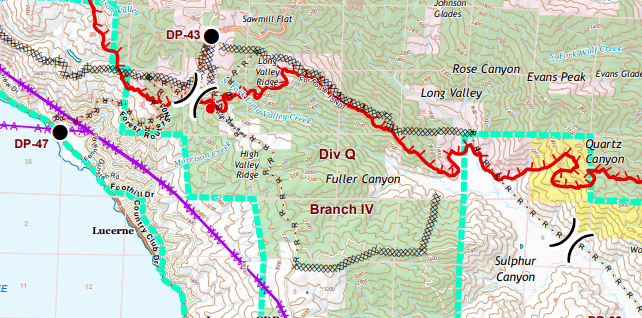 Snip of Cal FIre Ranch FIre map