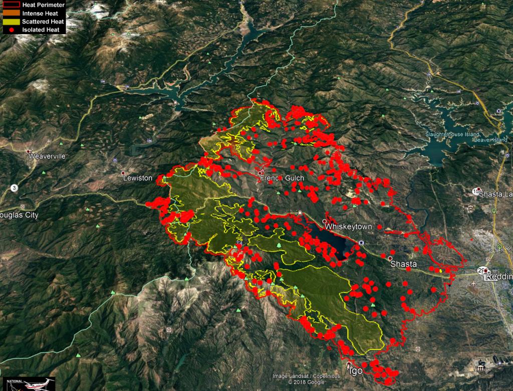 Carr Fire Heat Map