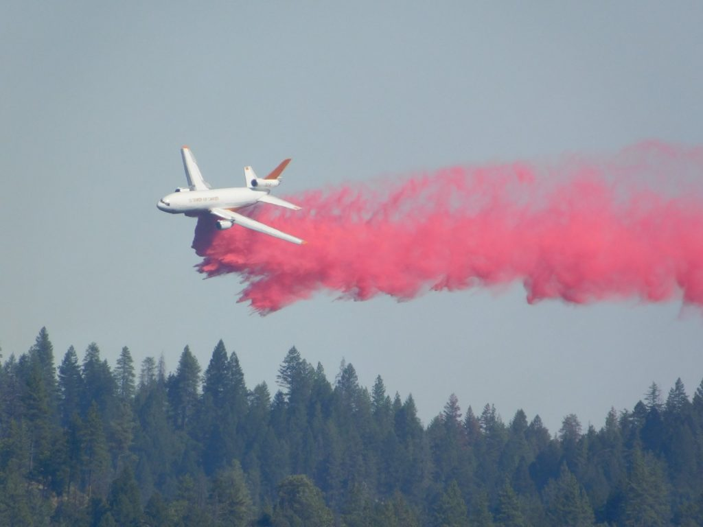 DC-10 dropping retardant on the hills above Lewiston in Trinity County.