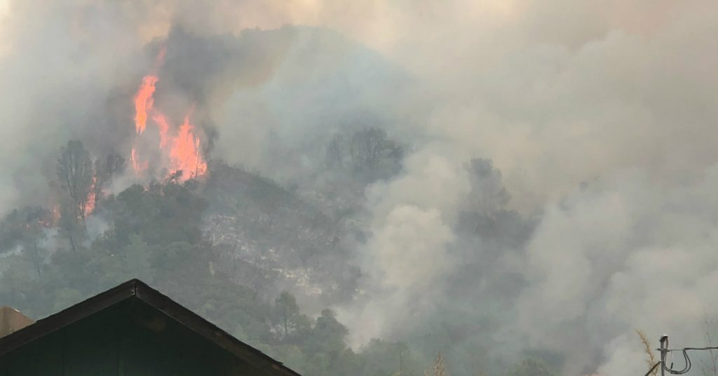 Flames above home in Ranch FIre