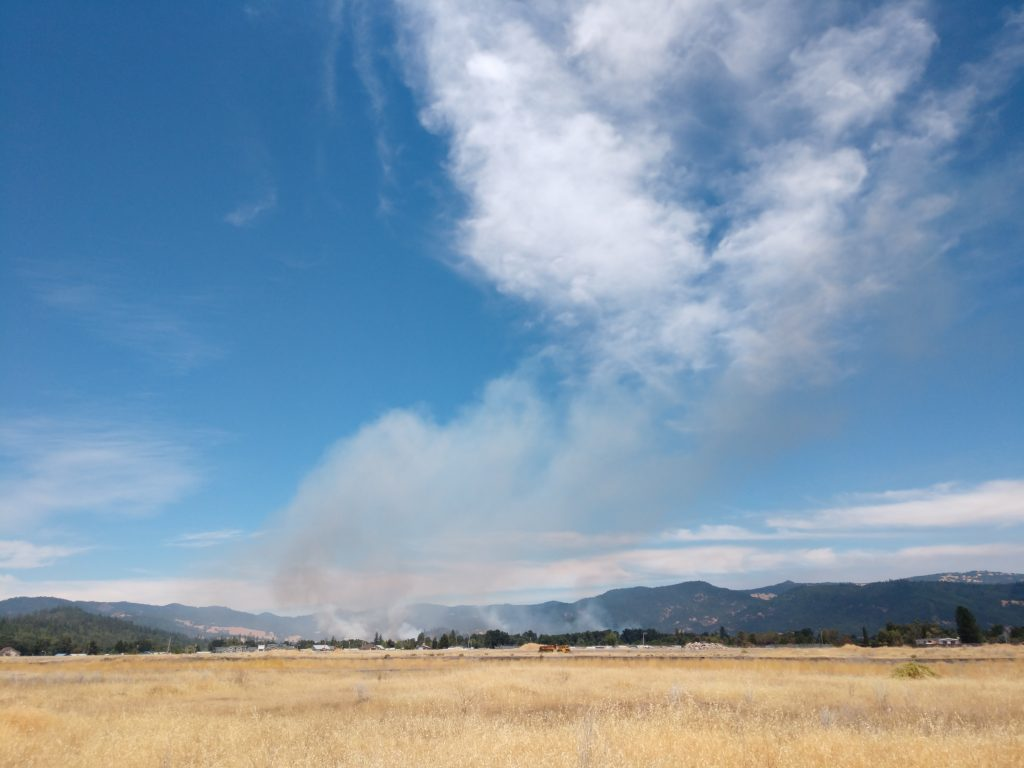 Smoke from the Covelo Fires on August 5.