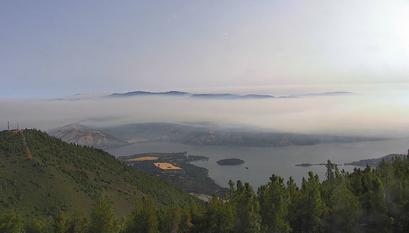 Clearer skies this morning as the Mount Konocti Camera this morning showed some smoke high over Clear Lake.