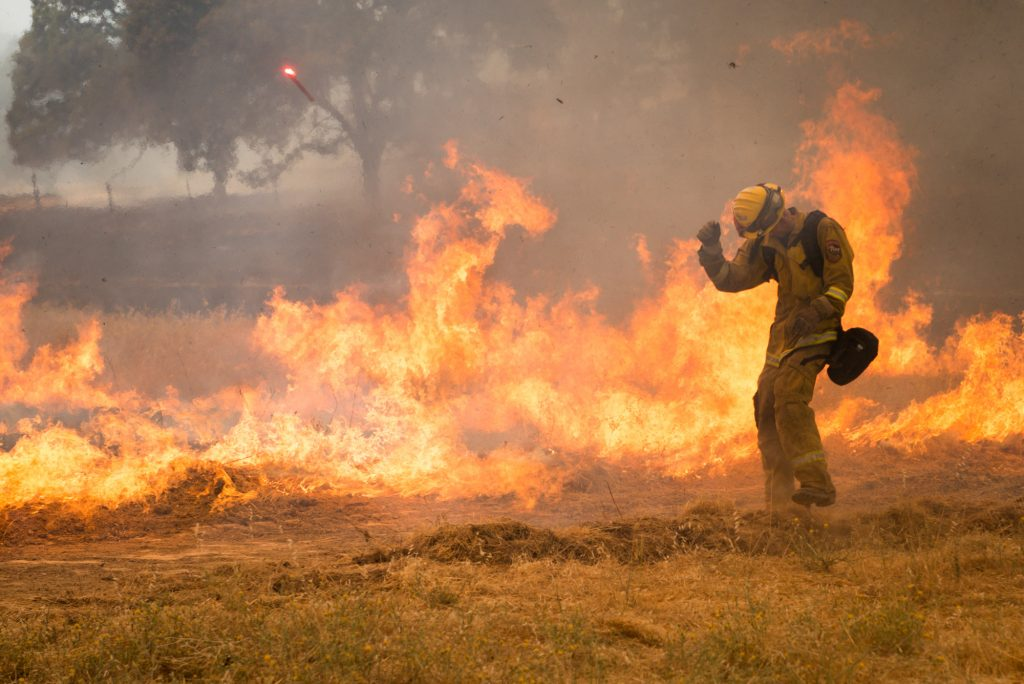 Firefighter conducting a burn operation to stop the Ranch Fire on the Mendocino Complex in early August.
