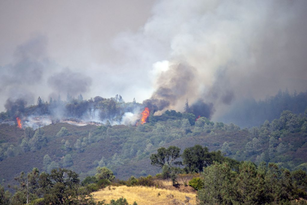 A flare erupts from the Ranch Fire near Upper Lake, California.
