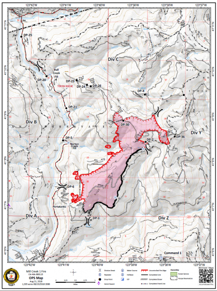 Mill Creek ops map based on information collected August 19