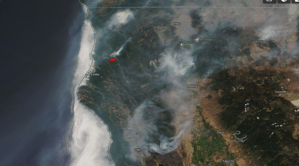 Amongst the haze from wildfires covering much of Northern California, a plume of smoke from the Mill Creek Fires (underlined in red) is adding to the choking miasma.
