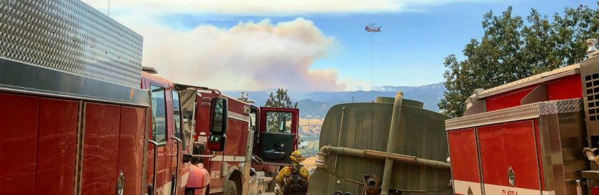 Firefighters and engines at Hogback Ridge near Nice working on the Ranch Fire 8-6-18. Photo by Dabin Lambert.