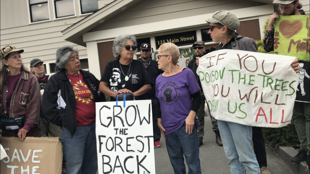 Protesters at the Scotia office of the Humboldt Redwood Company (HRC)