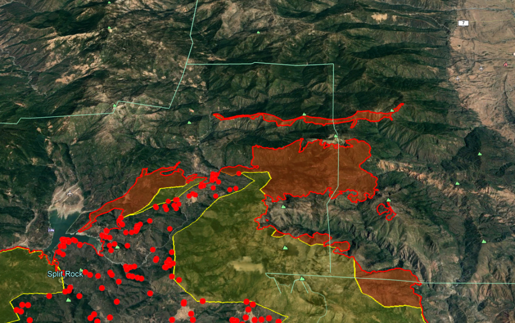 The screengrab from today's heat map shows the long thin spot fire running in advance of the Ranch Fire.