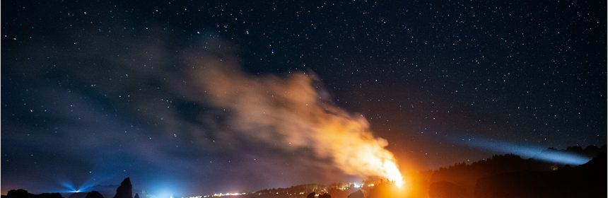 While photographing the Milkly Way through the Houda Beach cave, my brother and I saw this large fire burning along Scenic Drive to the north of us. Trinidad comprises the lights to the left. Humboldt County, California. September 13, 2018.