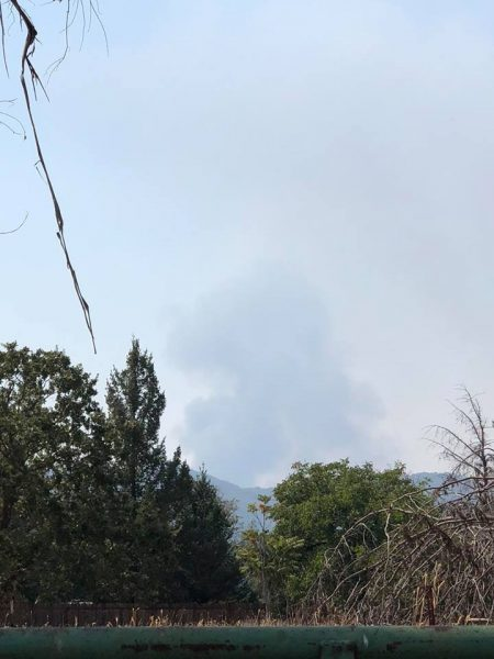 Smoke from the Ridge Incident rises against a background of smoke from the still burning Ranch Fire on the Mendocino Complex.